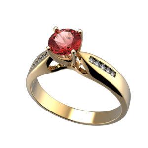 anillo con rubí